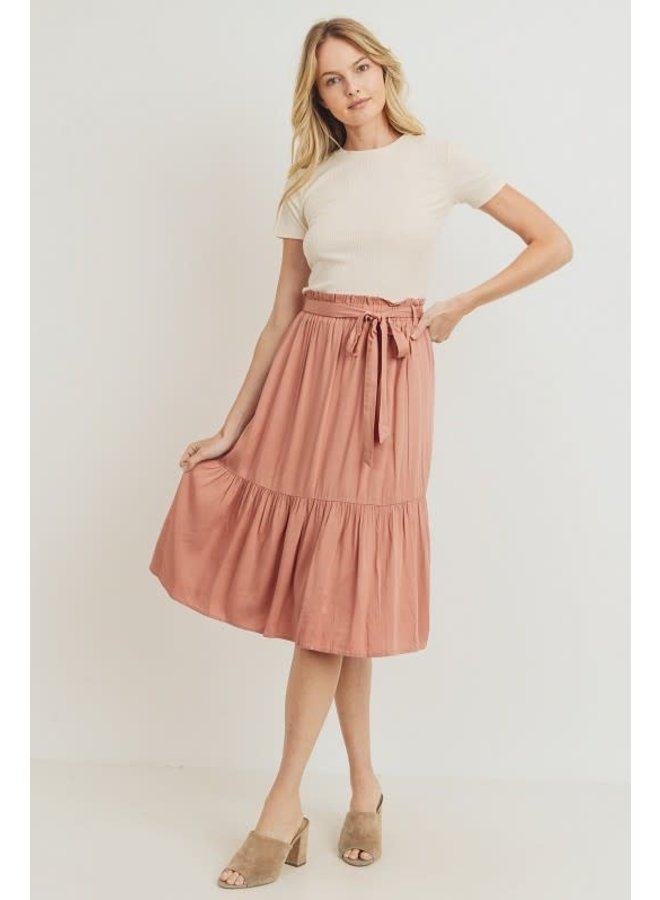 Coral Pink Tie-Waist tiered midi skirt