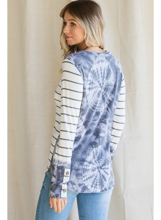 Cream and grey stripe/ grey tie dye