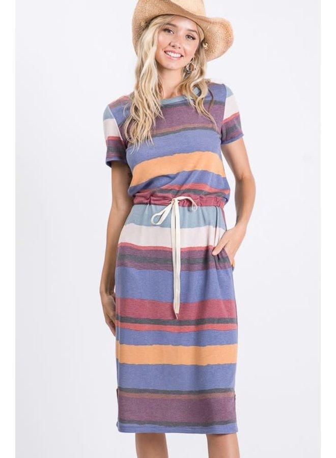 Bright stripe tee shirt dress