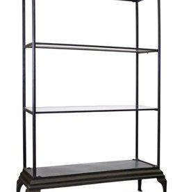 "Melrose International Floor Shelf  49.5""W x 6.5'H Iron/Glass"