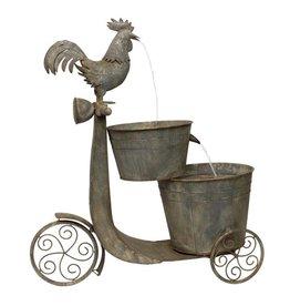 Melrose International Chicken on Scooter Fountain