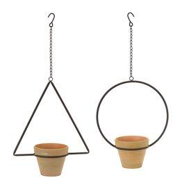 """Melrose International Hanging Pot (Set of 4) 25""""H, 25.75""""H Iron/Terra Cotta"""