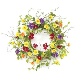 Melrose International Summer Garden Trumpet Wreath 20''D Fabric