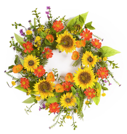 "Melrose International Sunflower Wreath 22""D Polyester/Plastic"