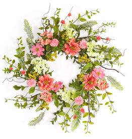 "Melrose International Cosmos/Berry Wreath 27""D Polyester/Plastic"