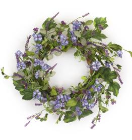 "Melrose International Floral and Lavender Wreath 24.5""D Polyester"