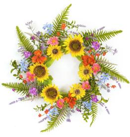 """Melrose International Mixed Floral/Sunflower Wreath 25""""D Polyester"""
