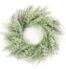"""Melrose International Mixed Fern Wreath 24""""D Plastic"""