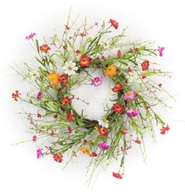 "Melrose International Mixed Floral Wreath 22.5""D Polyester"