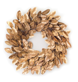 "Melrose International Magnolia Leaf Wreath Bronze 22""D Fabric"