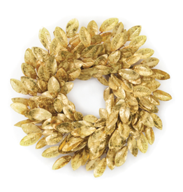 "Melrose International Magnolia Leaf Wreath Gold 22""D Fabric"