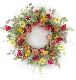 """Melrose International Poppy Wreath 20""""D Polyester/Plastic"""