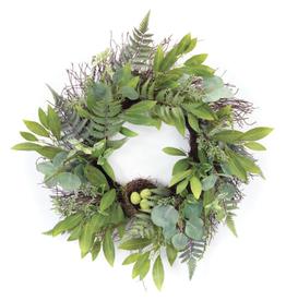 "Melrose International Mixed Foliage W/Nest Wreath 25""D Polyester"