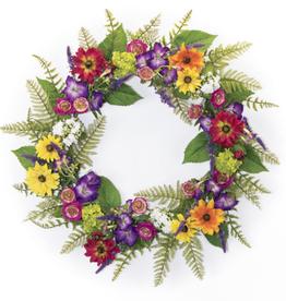 "Melrose International Mixed Floral Wreath 29""D Polyester"