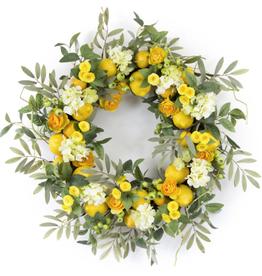 "Melrose International Lemon/Floral Wreath 28""D Foam/Plastic"