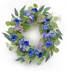 "Melrose International Anemone and Hydrangea Wreath 20.5""D Polyester"