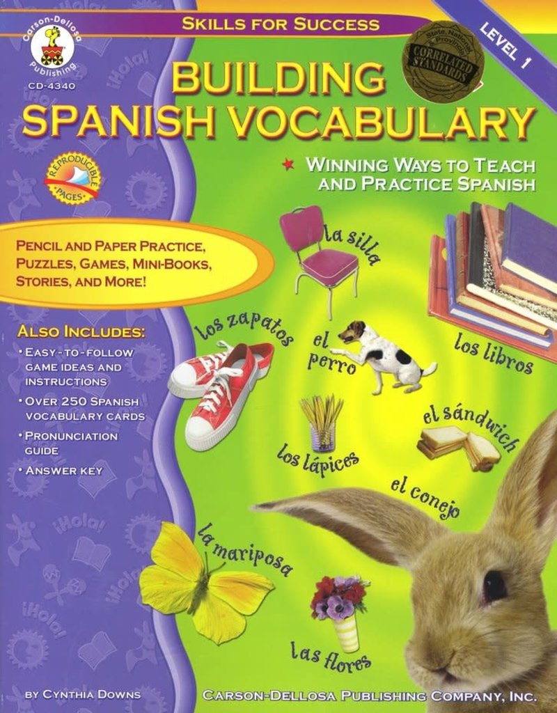 Carson Dellosa Building Spanish Vocabulary Resource Book Grade PK-12 Paperback
