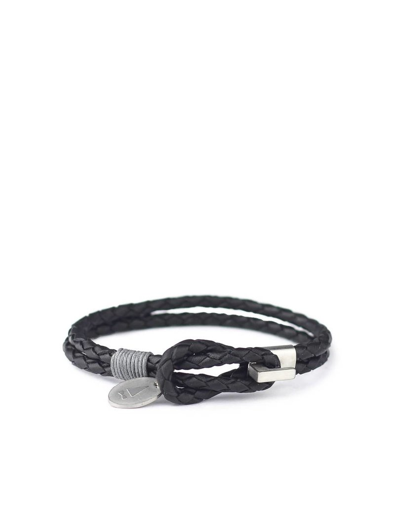 Gnome & Bow Gnome & Bow Smith Braided L Black Leather Bracelet