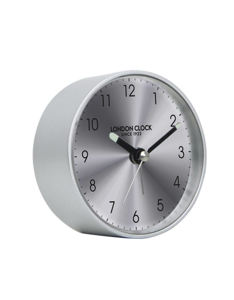 London Clock London Clock Titanium Round silver Alarm Clock