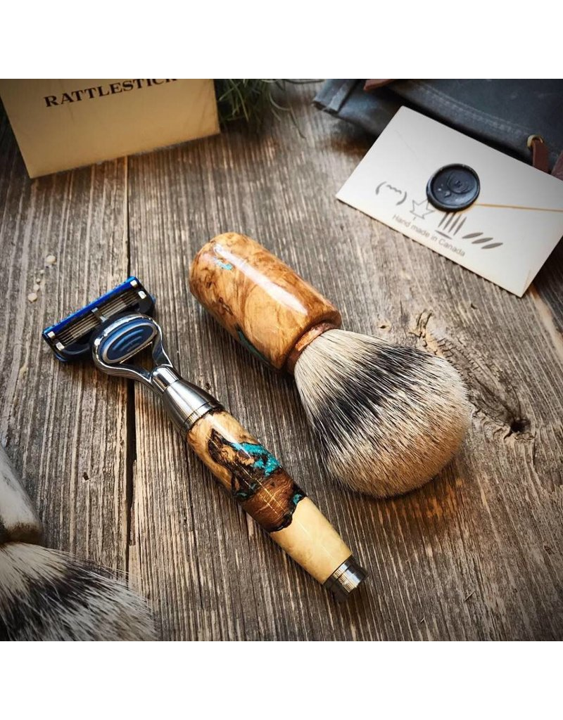 Rattlestick Rattlestick Gnarly Burled Ramsay With Turquoise Inlay Razor