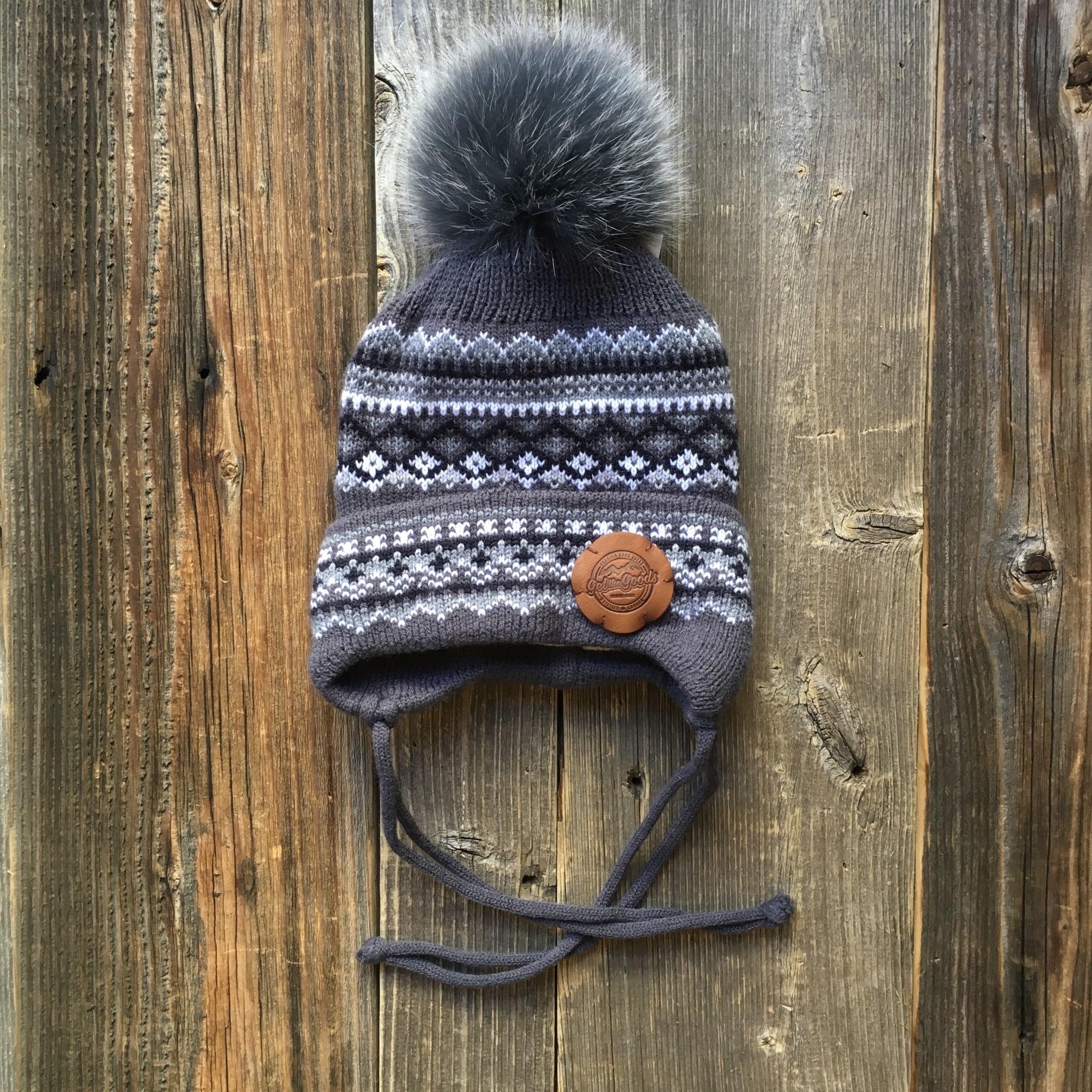 Get the Goods Kids Knit Hat with Fur Pom Alpine