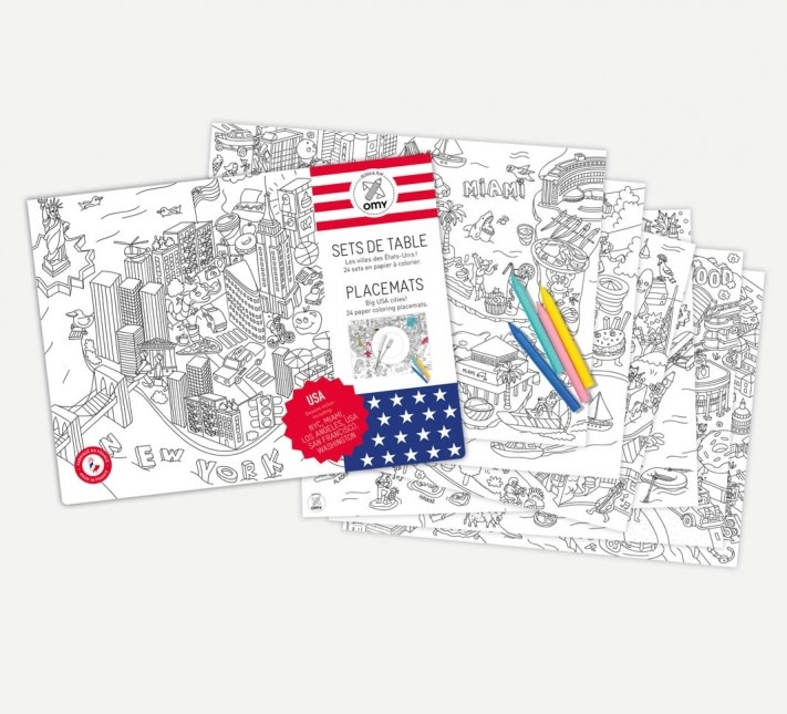 OMY COLORING PLACEMATS- UNITED STATES