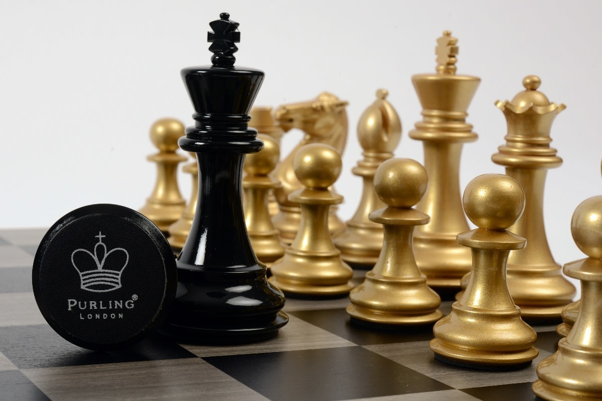 Purling London Bold Chess Grey Stained Maple : Metallic Gold v. Shadow Black
