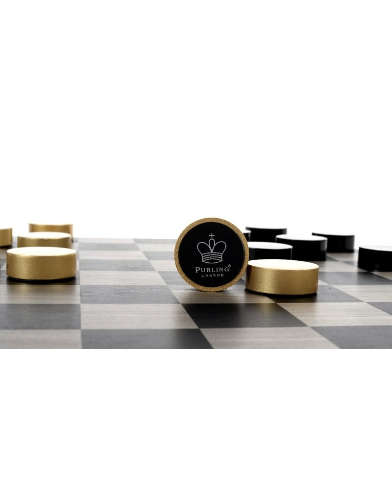 Purling London Purling London Bold Checkers Grey Stained Maple: Metallic Gold v. Shadow Black