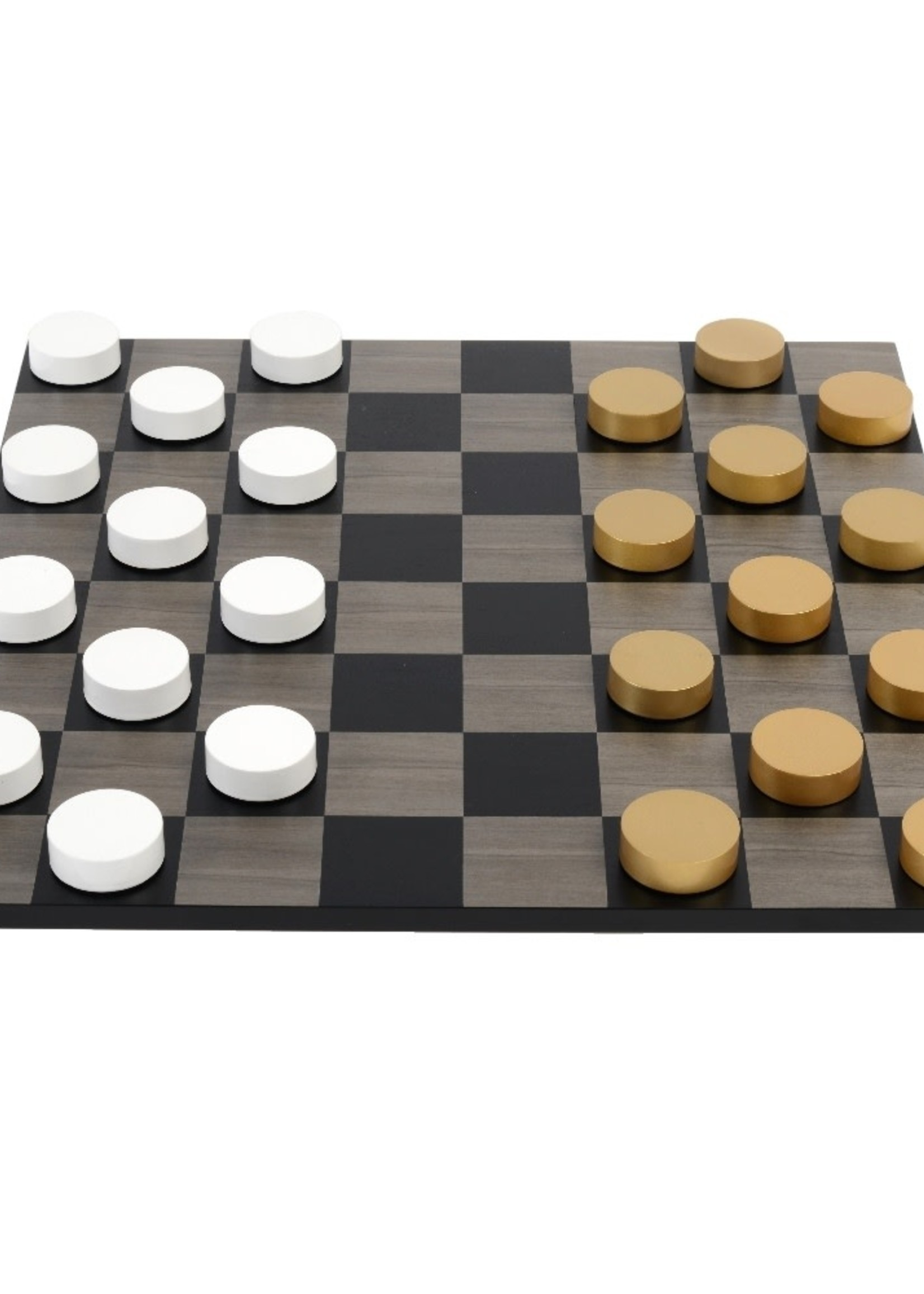 Purling London Purling London Bold Checkers Grey Stained Maple: Metallic Gold. v. Gloss White