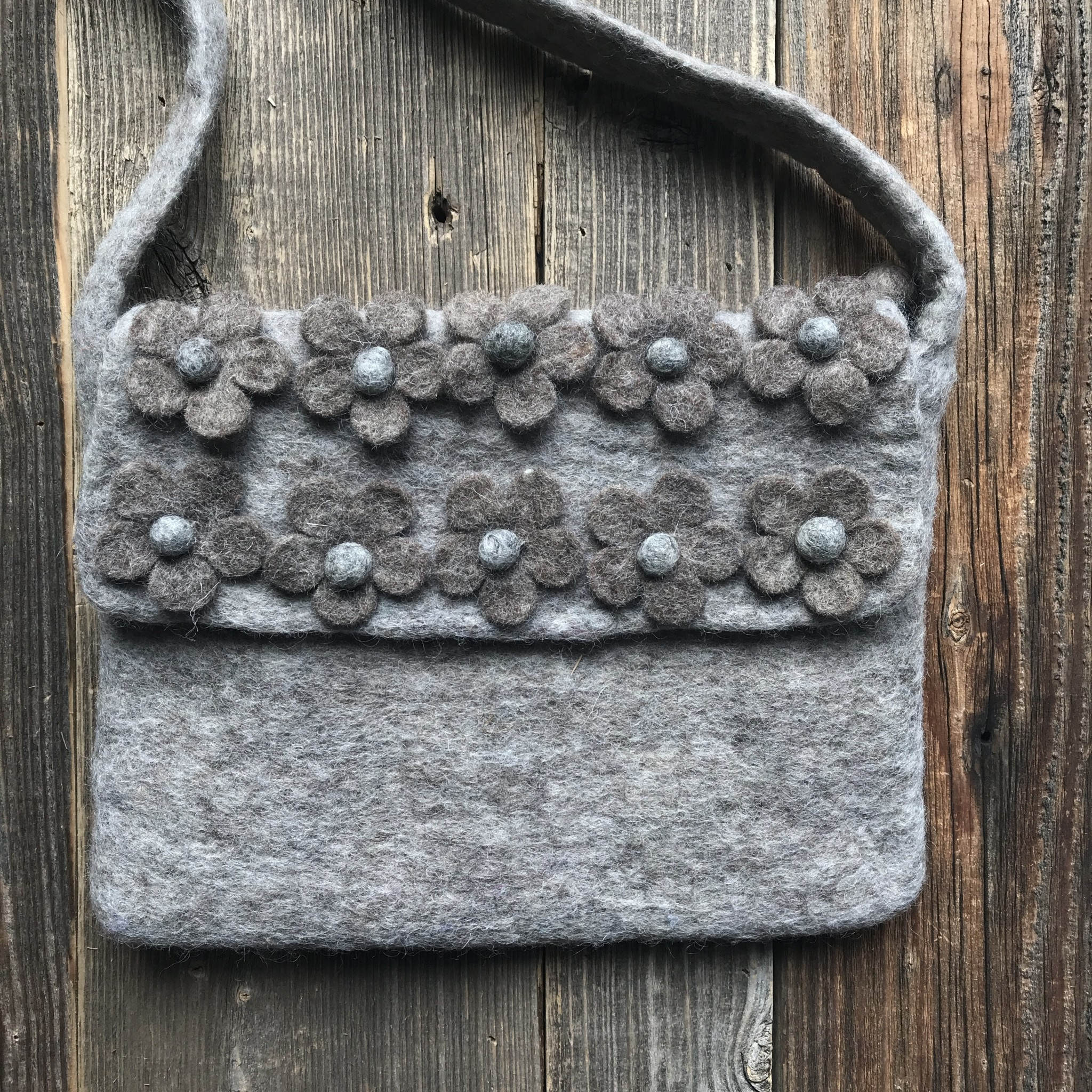 All Things Felt Grey Floral Sling