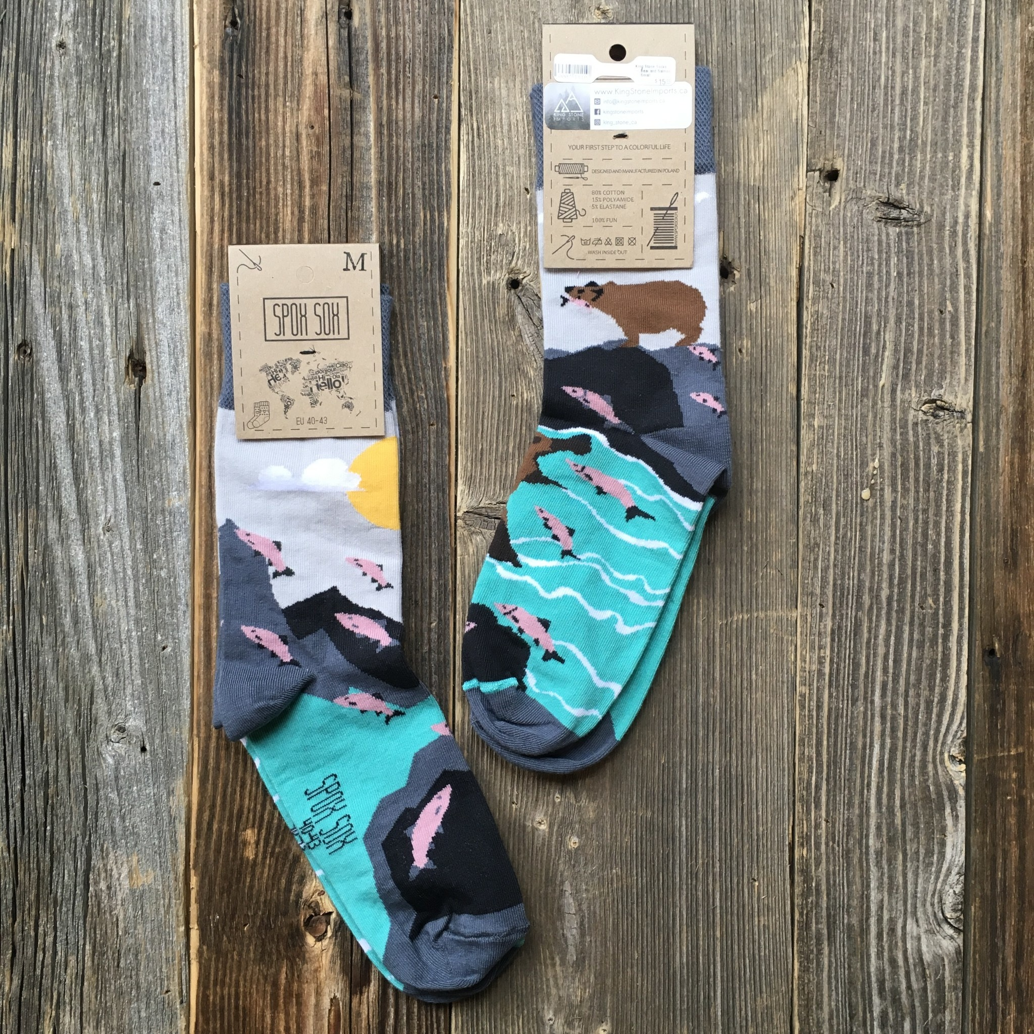 King Stone Socks Bear and Salmon