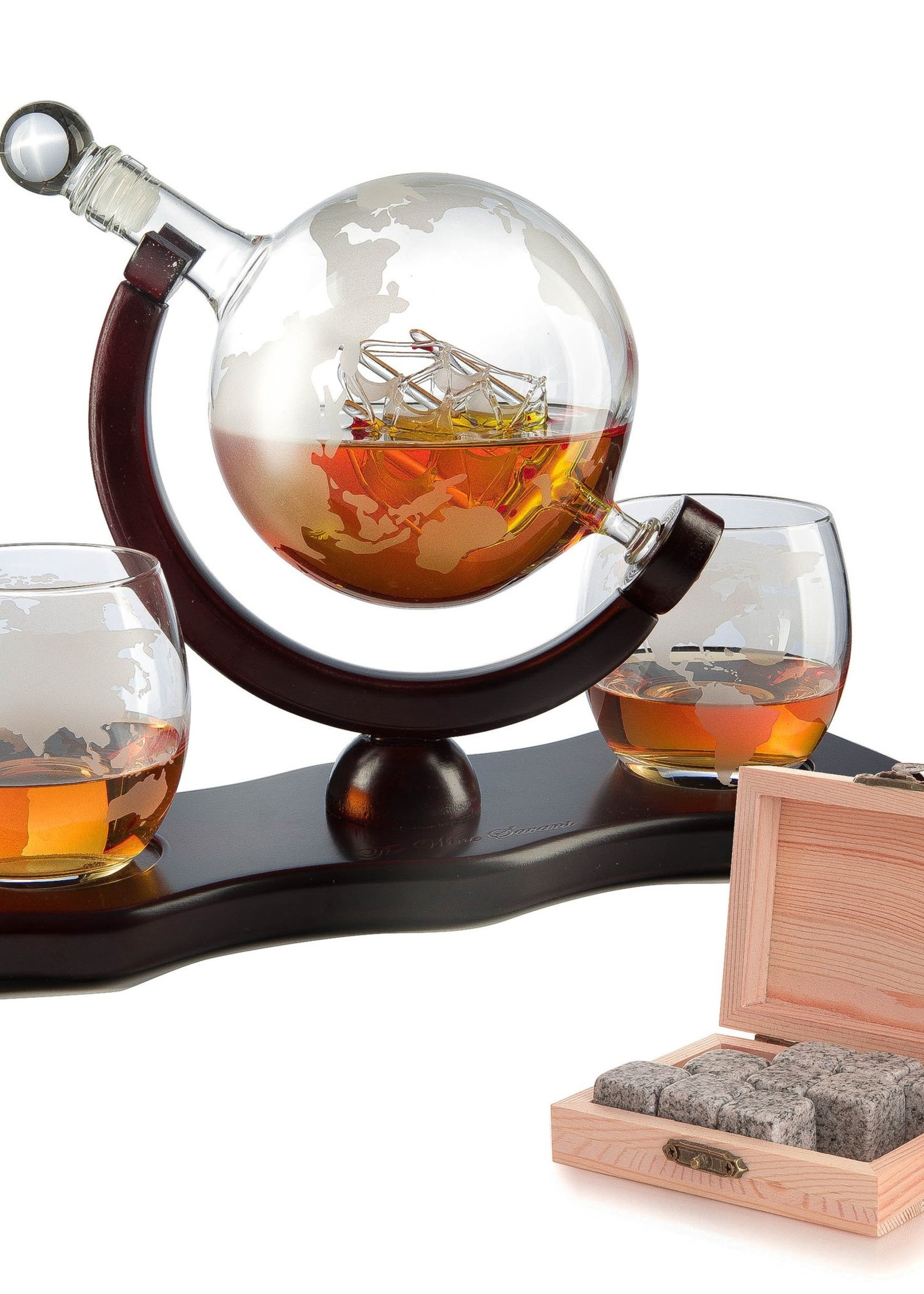 Wine Savant Wine Savant Globe Ship Decanter w/2 Glasses