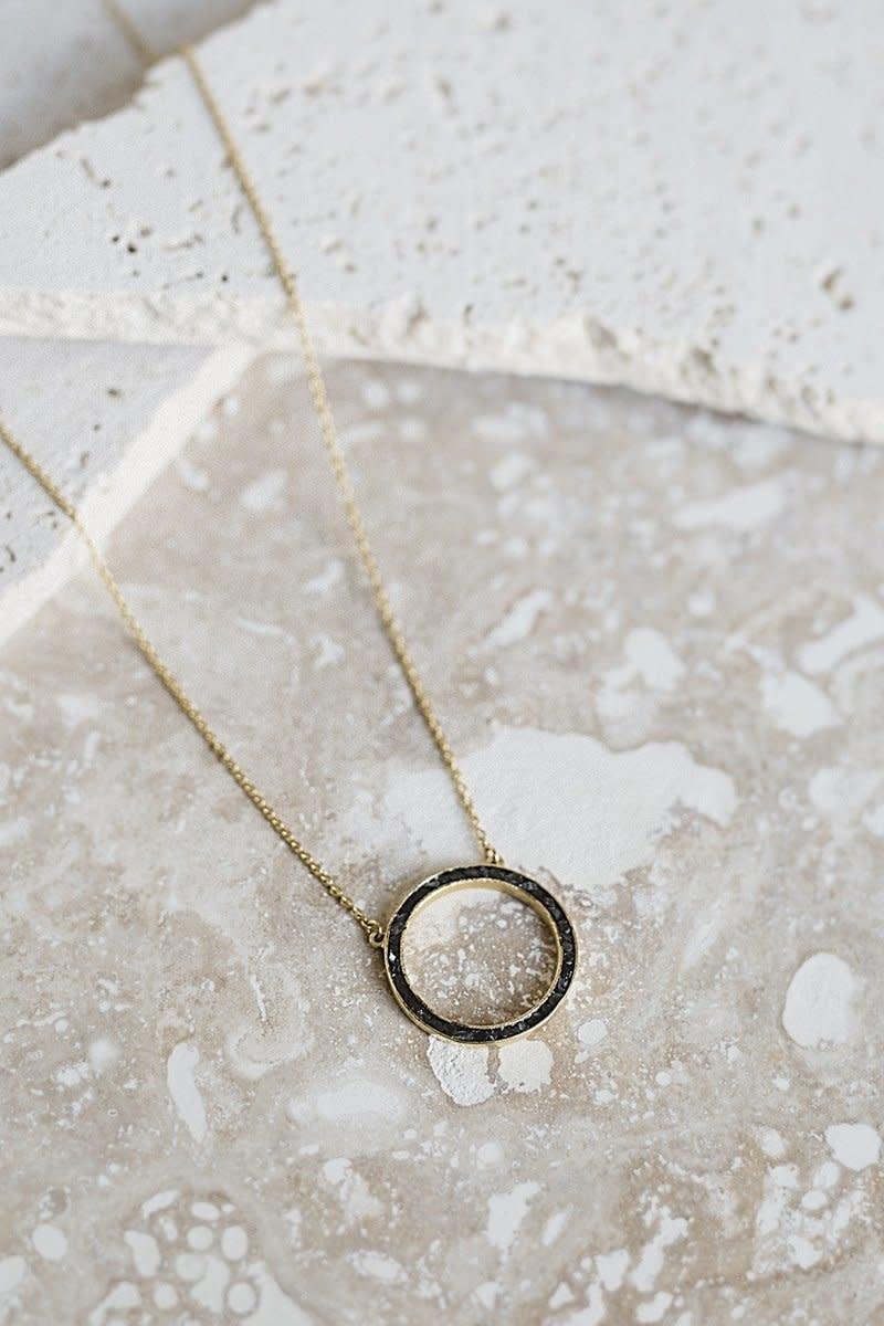 Joya Deco Diamond Circle Necklace Black