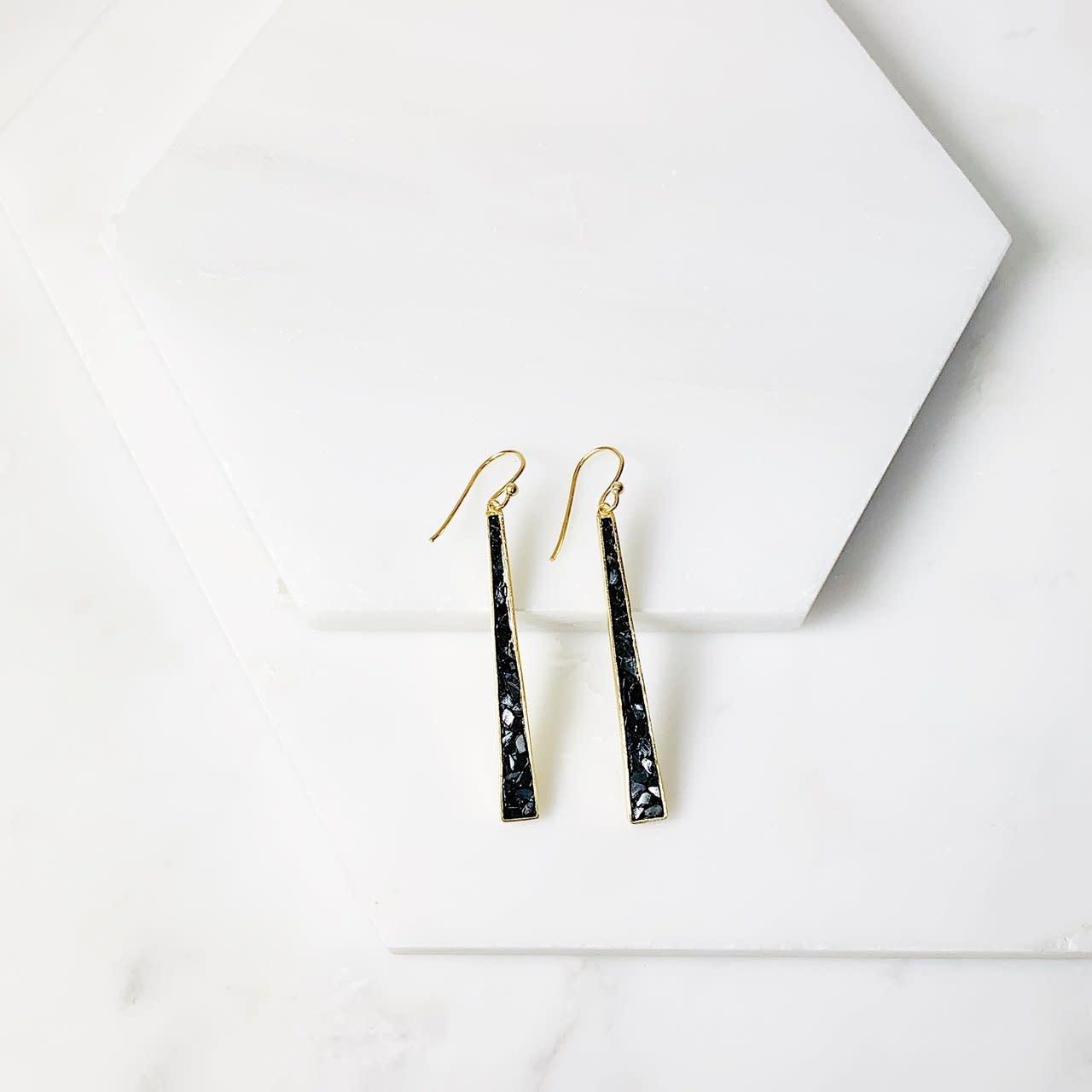 Joya Wangari Earrings Black Deco Diamonds