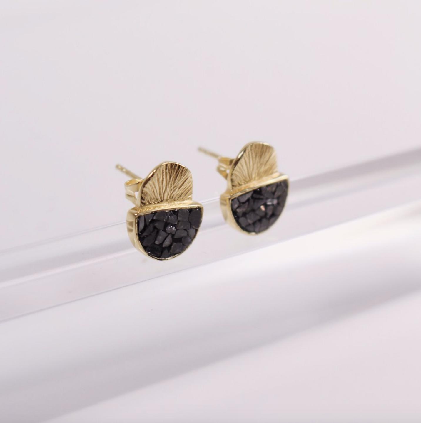 Joya Deco Diamond Laine Earrings Black