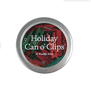 Cavallini Mini Wooden Clips In Tin Holiday