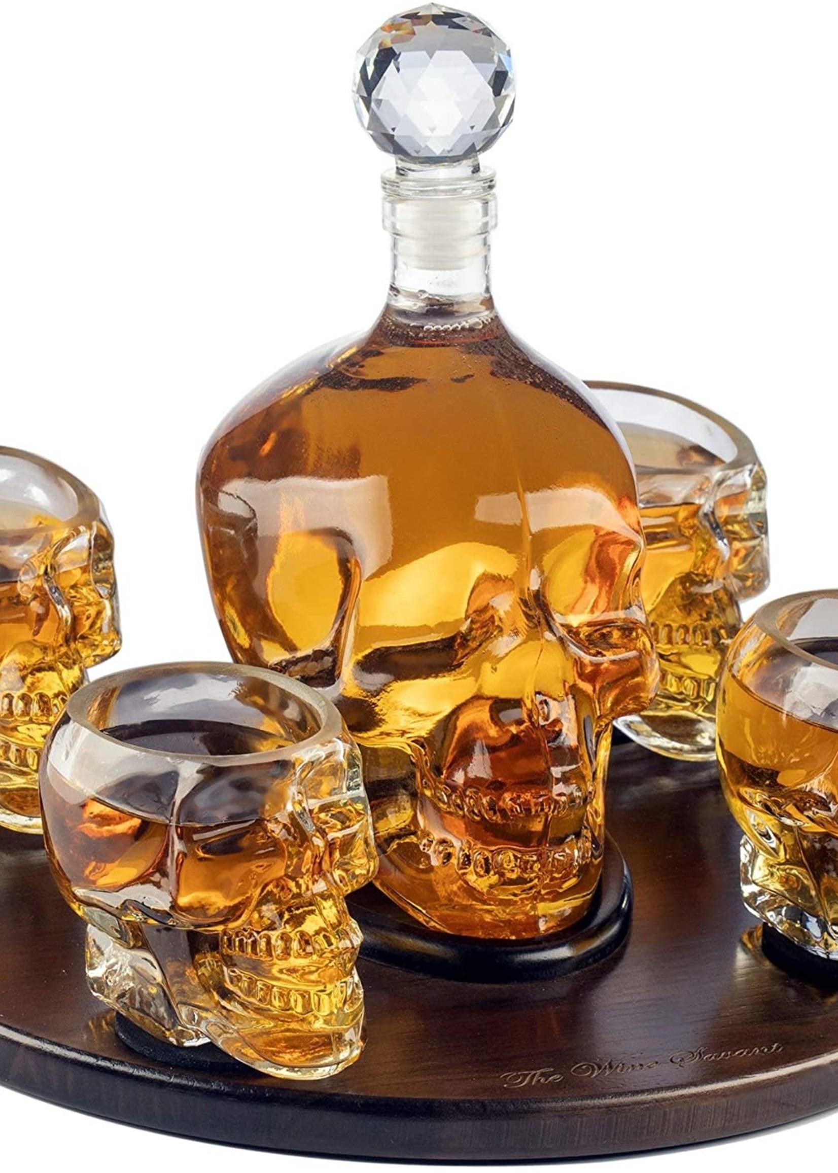 Wine Savant Wine Savant Skull Face Decanter with 4 Skull shot glasses