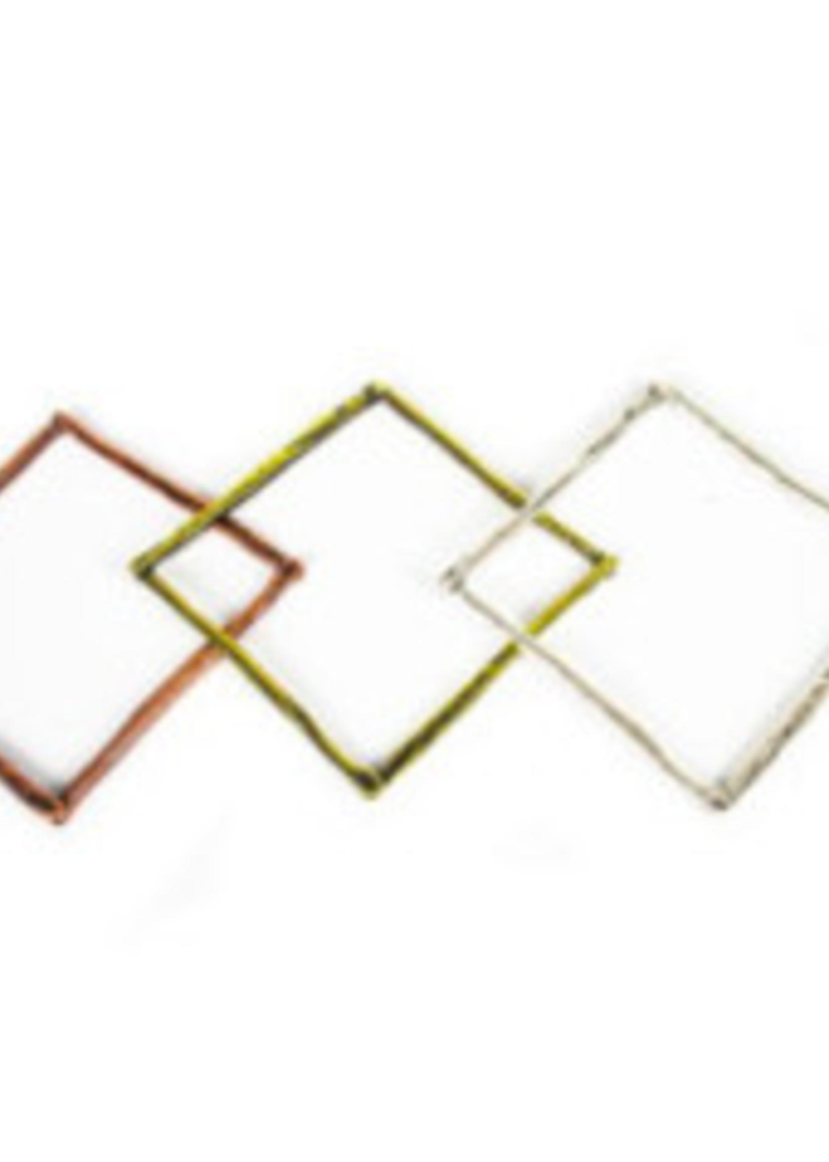 Bijoux Bijoux Bronze Thin Open Square Bangle Silver