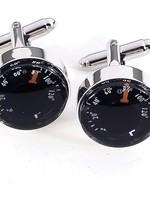 BeyBerk International Rhodium Plated Cufflinks - Functional Thermometer