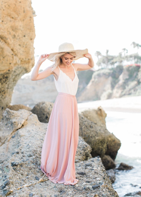 Space46 Kelly Maxi Skirt - Blush Pink