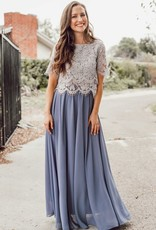 Space46 Kelly Maxi Skirt - Dusty Blue