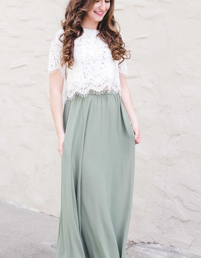 Space46 Kelly Maxi Skirt - Sage Green