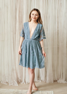 Honey Punch Miley Embroidered Lace Dress
