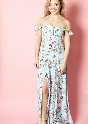 Flynn Skye Flynn Skye - Bardot Maxi Dress in Blue My Mind