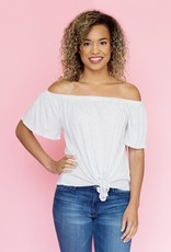 Cupcakes & Cashmere Heathered Grey Off-the-Shoulder Tie Top