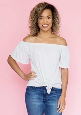 Cupcakes & Cashmere Heather Off-the-Shoulder Tie Top