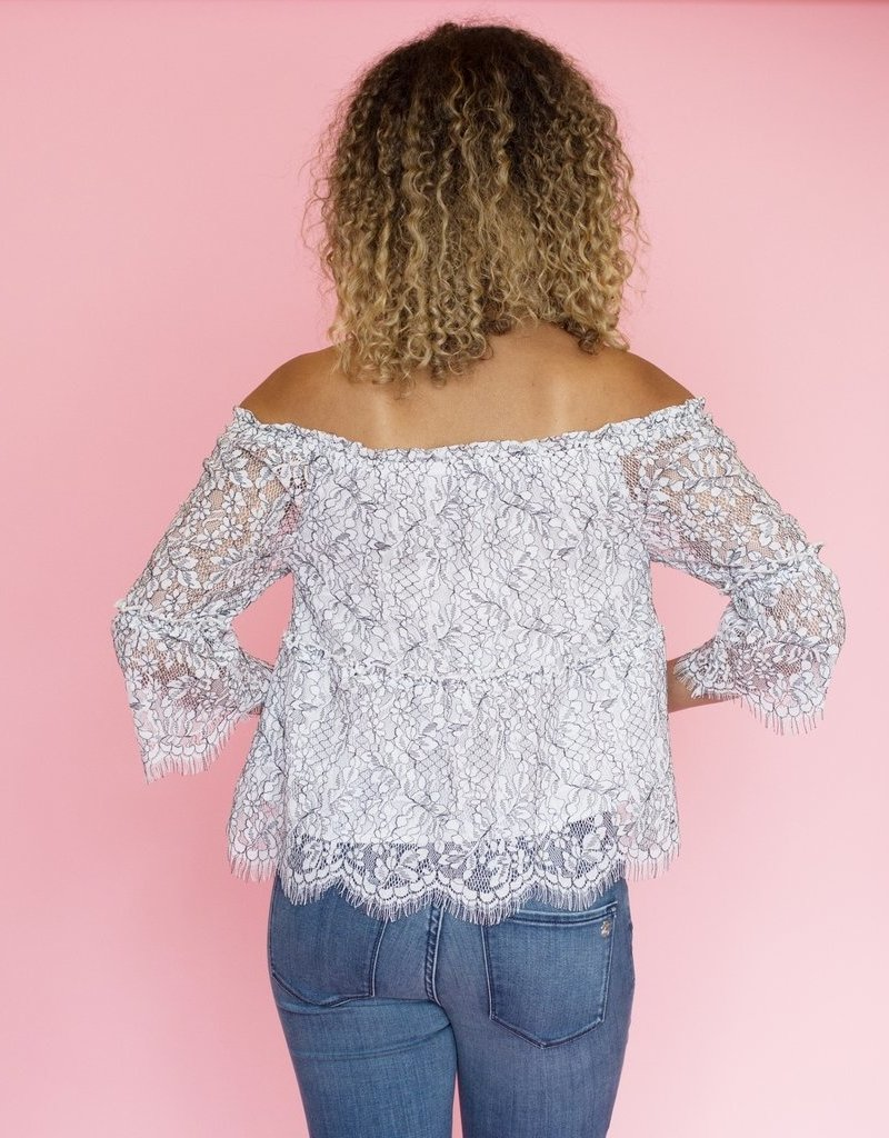 Cupcakes & Cashmere Ruby Lace Off-the-Shoulder Top