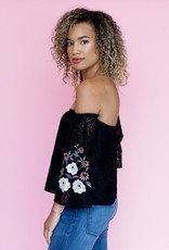Cupcakes & Cashmere Valentina Embroidered Lace Top