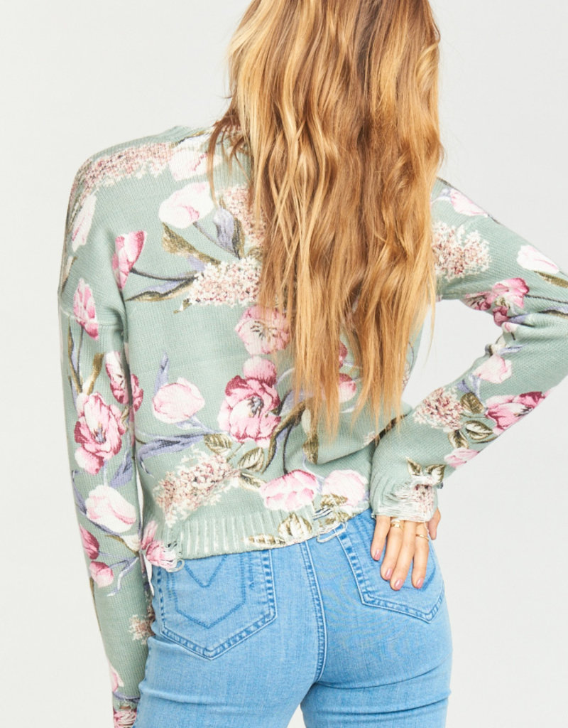 Show Me Your Mumu Show Me Your Mumu - Cropped Varsity Sweater Primavera Floral Knit