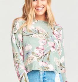 Show Me Your Mumu Show Me Your Mumu - Cropped Varsity Sweater Primavera Floral Knit